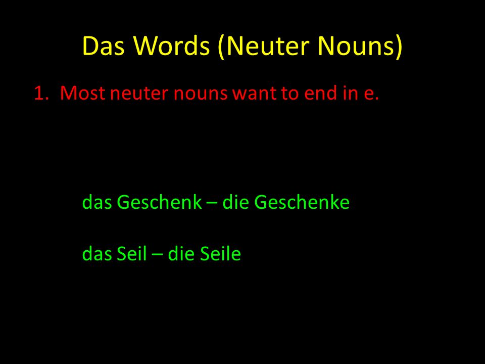 Das Words (Neuter Nouns)