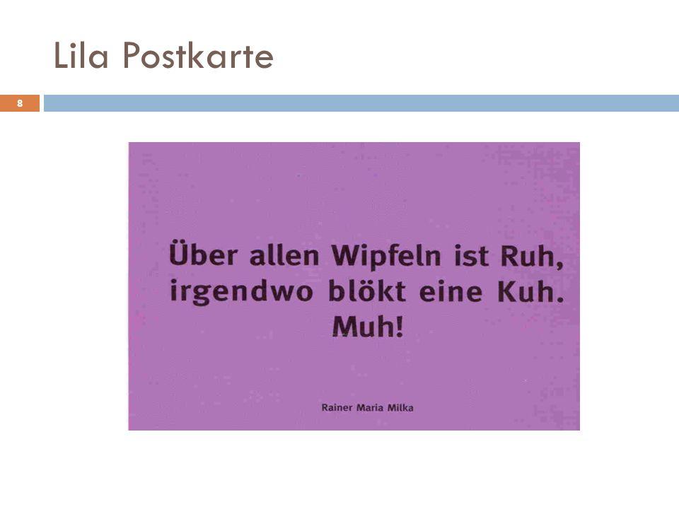 Lila Postkarte