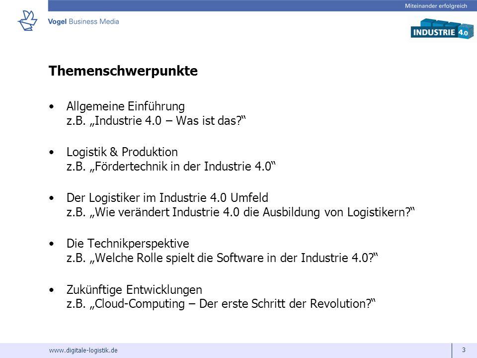"""Themenschwerpunkte Allgemeine Einführung z.B. """"Industrie 4.0 – Was ist das Logistik & Produktion z.B. """"Fördertechnik in der Industrie 4.0"""