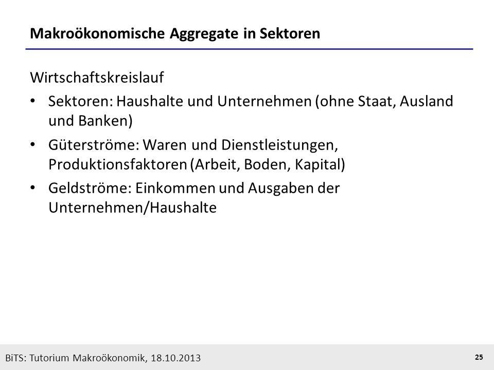 Makroökonomische Aggregate in Sektoren