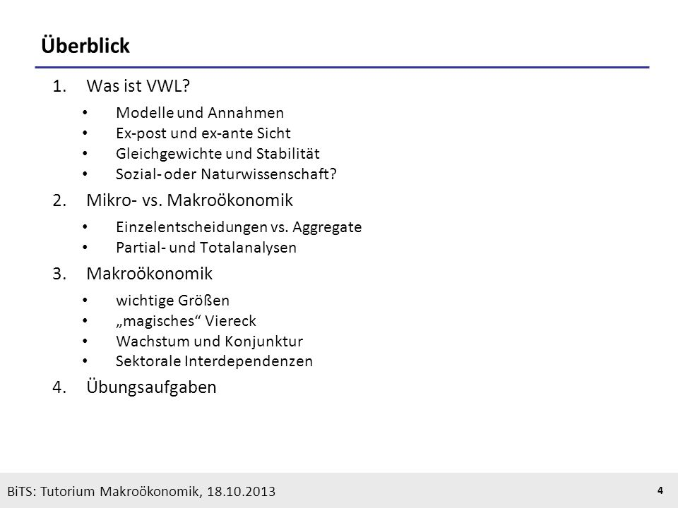 Überblick Was ist VWL Mikro- vs. Makroökonomik Makroökonomik