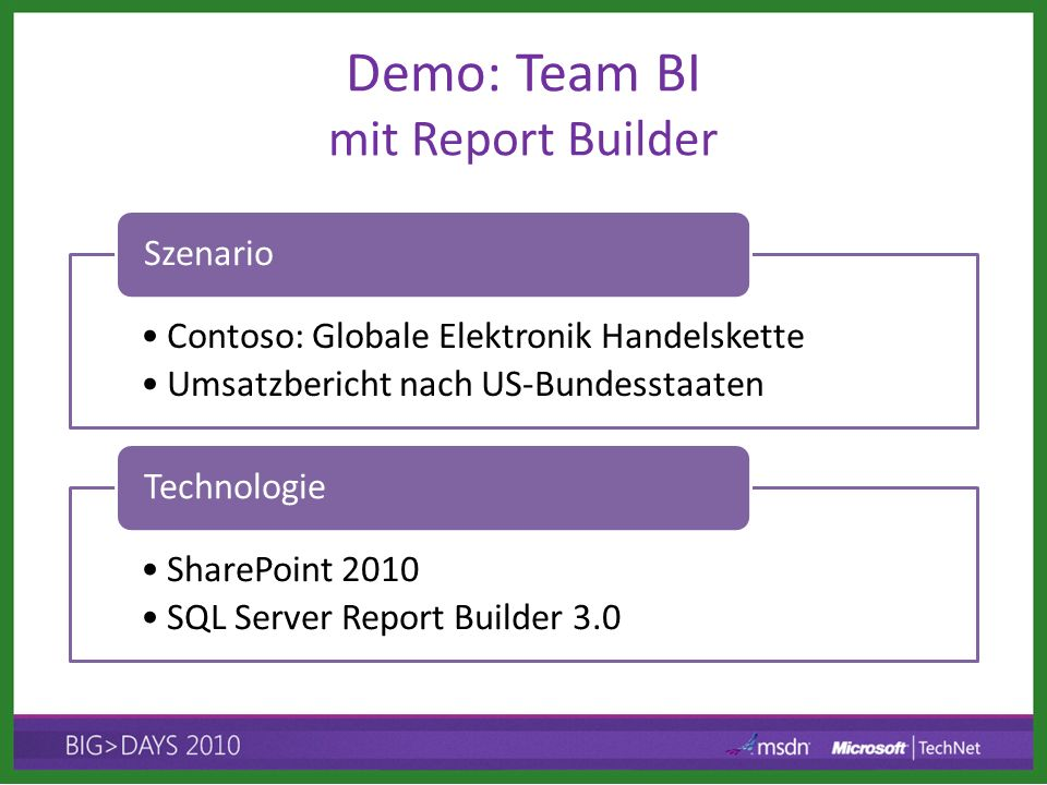 Demo: Team BI mit Report Builder