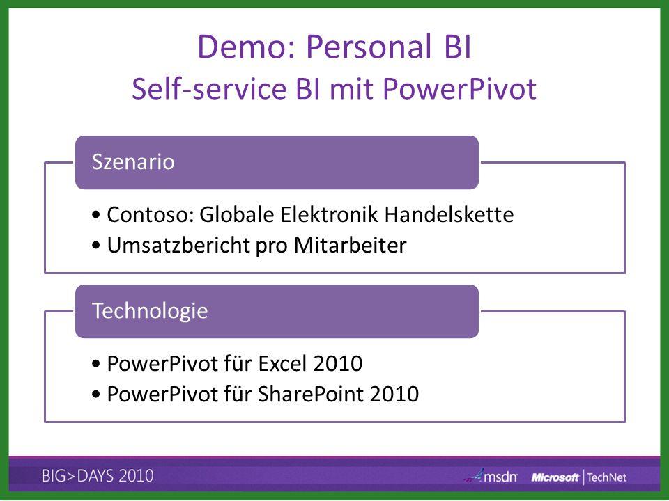 Demo: Personal BI Self-service BI mit PowerPivot