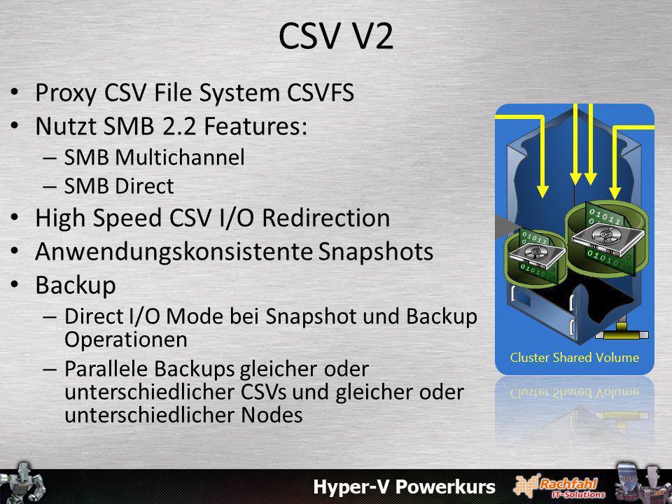CSV V2 Proxy CSV File System CSVFS Nutzt SMB 2.2 Features:
