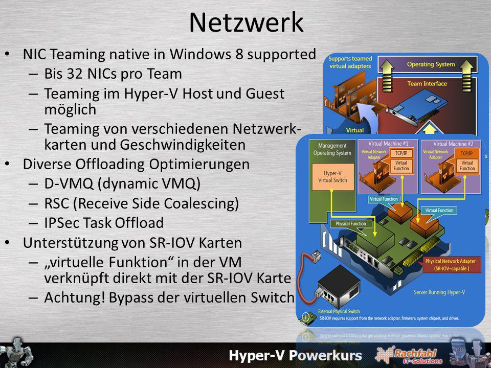 Netzwerk NIC Teaming native in Windows 8 supported