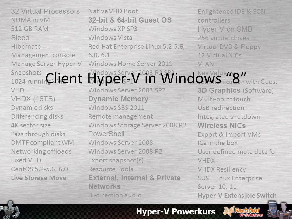 Client Hyper-V in Windows 8