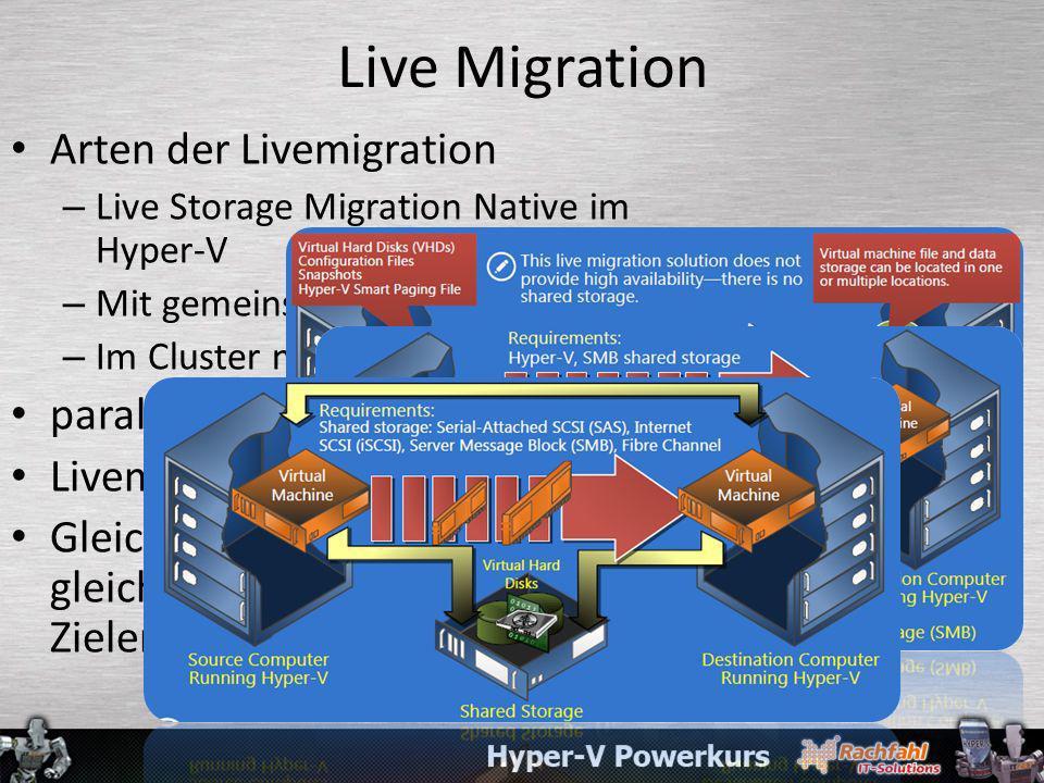 Live Migration Arten der Livemigration paralelle Livemigrationen