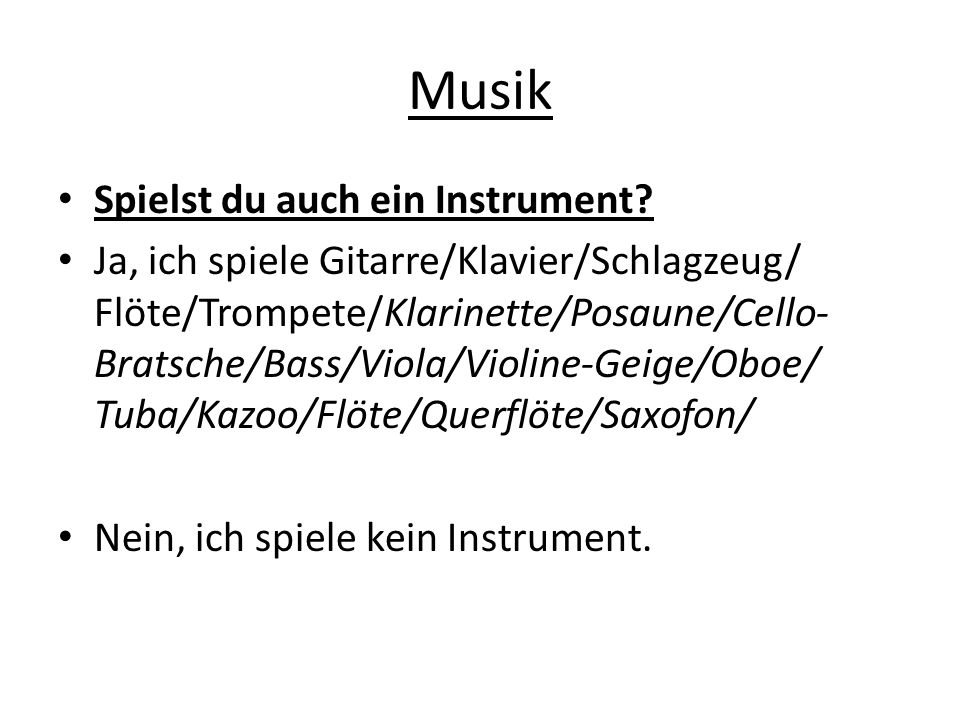Musik Spielst du auch ein Instrument