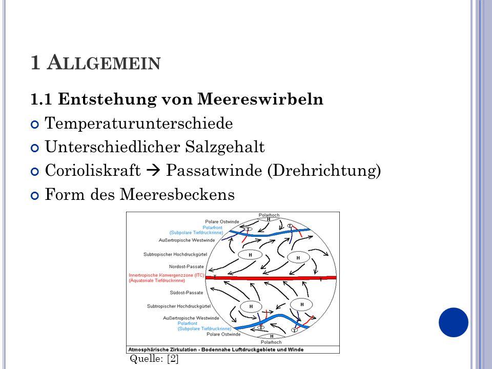 1 Allgemein 1.1 Entstehung von Meereswirbeln Temperaturunterschiede