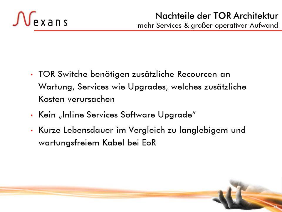 Nachteile der TOR Architektur mehr Services & großer operativer Aufwand