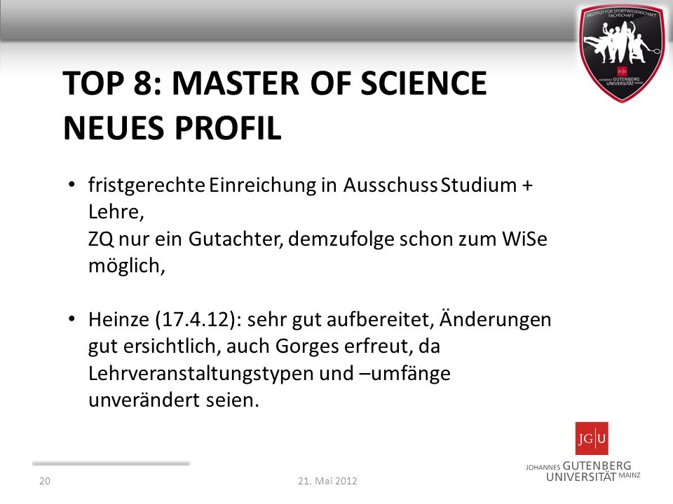 TOP 8: Master of Science neues Profil