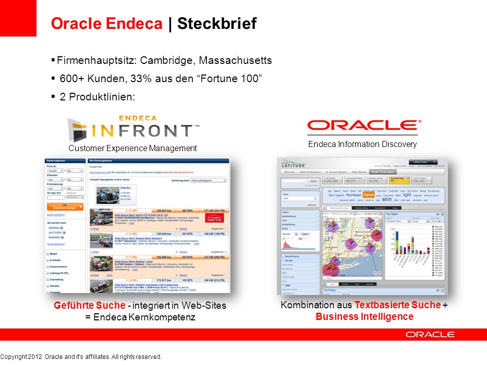 Oracle Endeca | Steckbrief