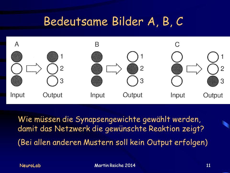 Bedeutsame Bilder A, B, C Die Schwärzung der Neuronen bedeutet eine Erregung von 1. Weiße Neuronen sind nicht erregt.