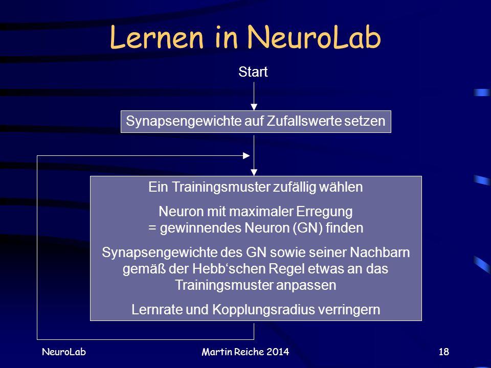 Lernen in NeuroLab Start Synapsengewichte auf Zufallswerte setzen