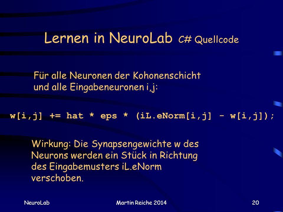 Lernen in NeuroLab C# Quellcode