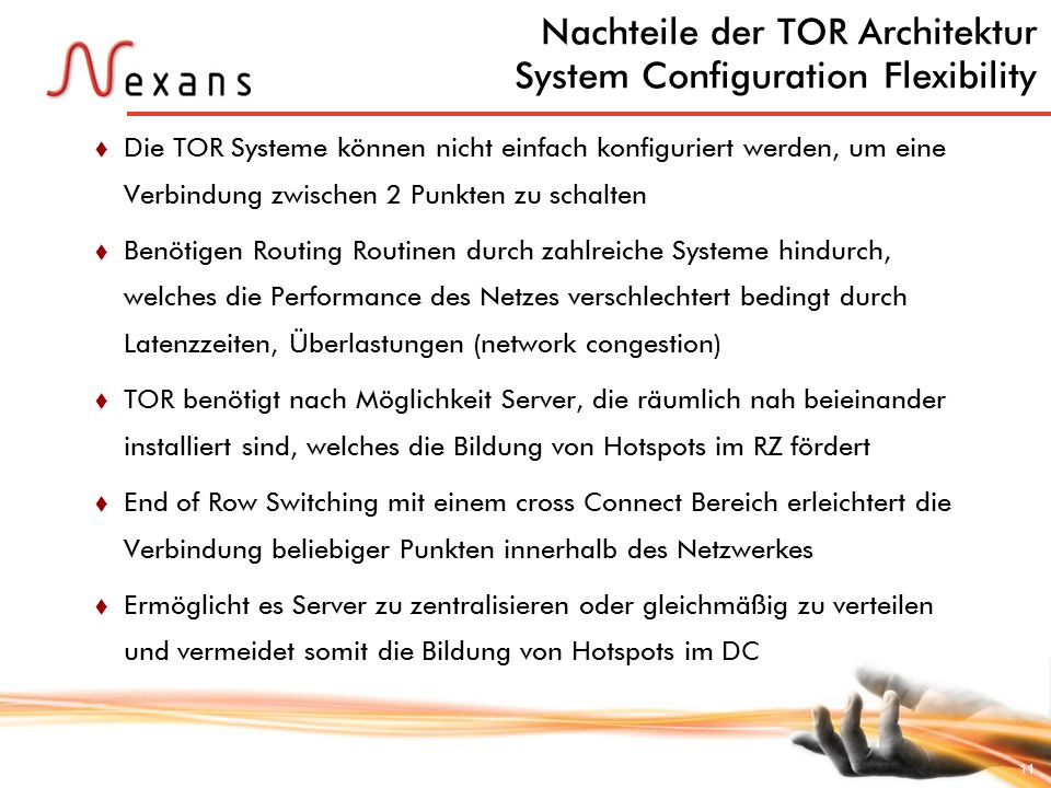 Nachteile der TOR Architektur System Configuration Flexibility