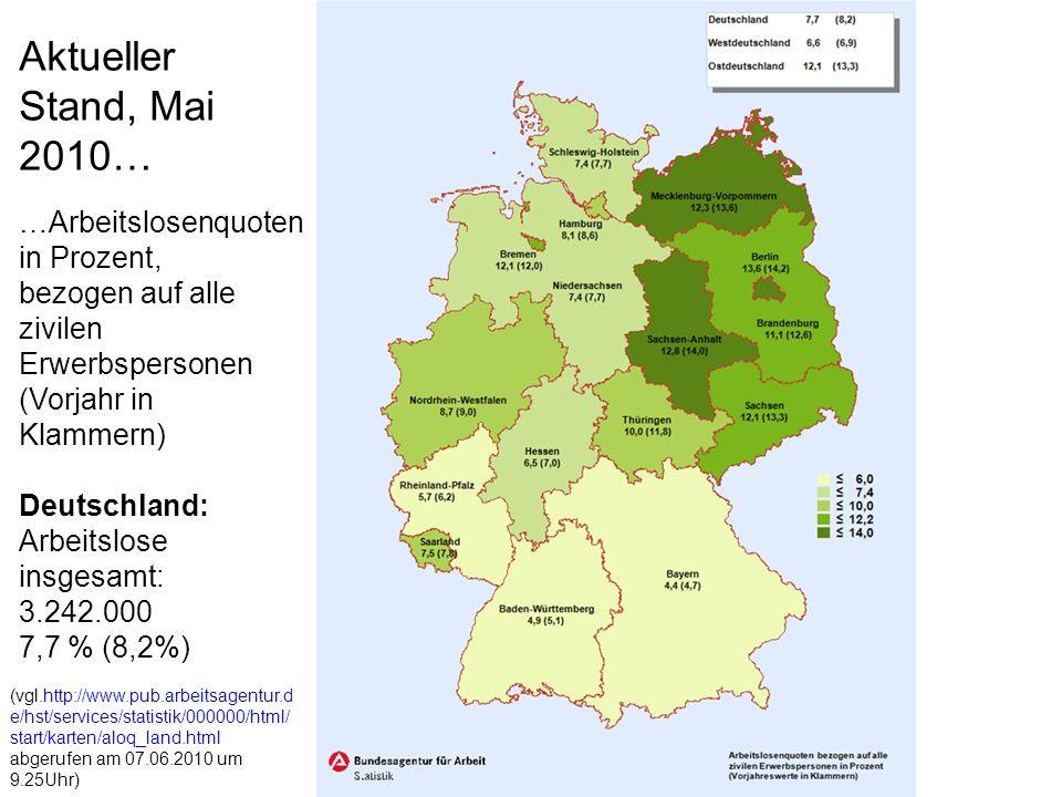 Aktueller Stand, Mai 2010… …Arbeitslosenquoten in Prozent,