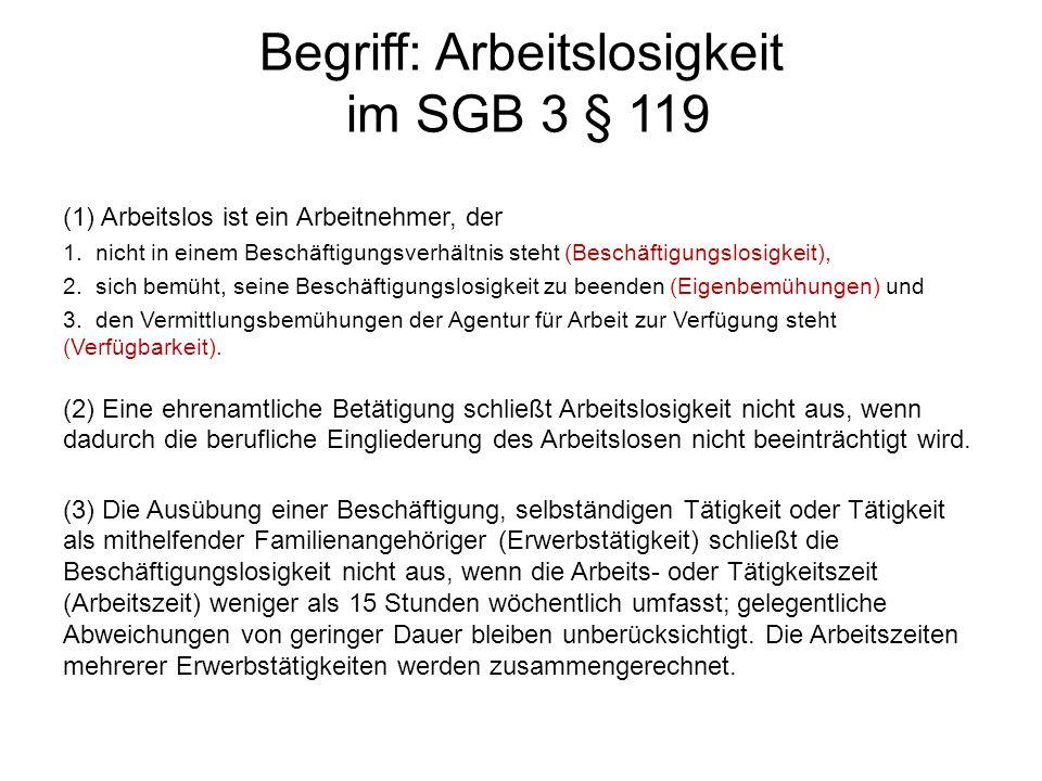 Begriff: Arbeitslosigkeit im SGB 3 § 119