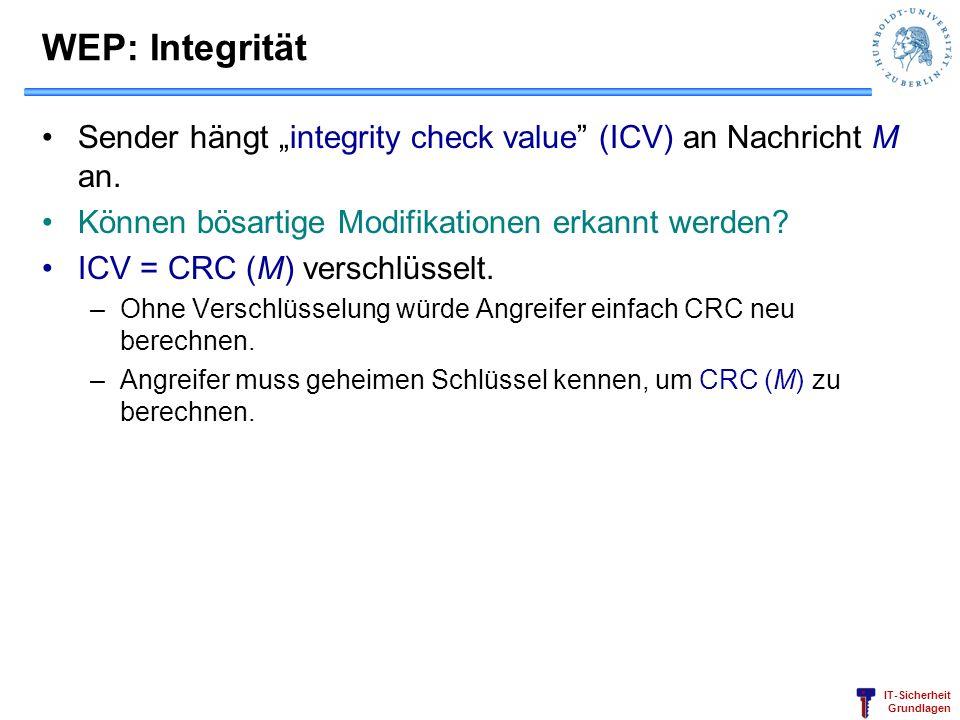 "WEP: Integrität Sender hängt ""integrity check value (ICV) an Nachricht M an. Können bösartige Modifikationen erkannt werden"