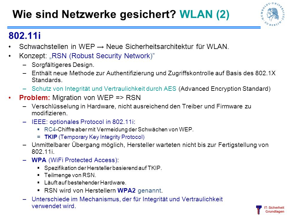 Wie sind Netzwerke gesichert WLAN (2)