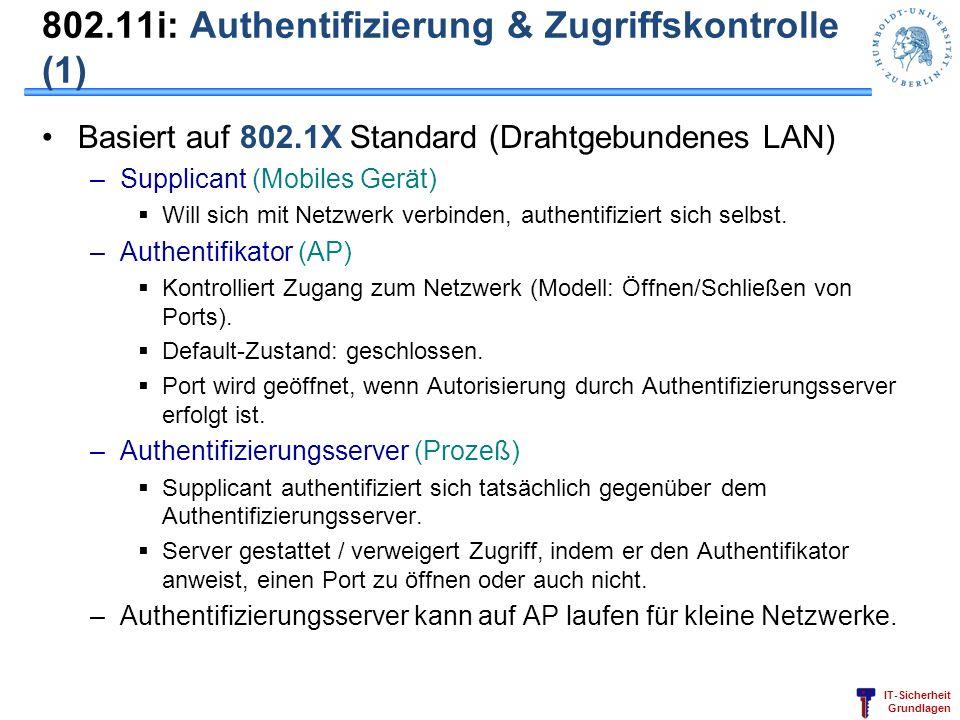 802.11i: Authentifizierung & Zugriffskontrolle (1)