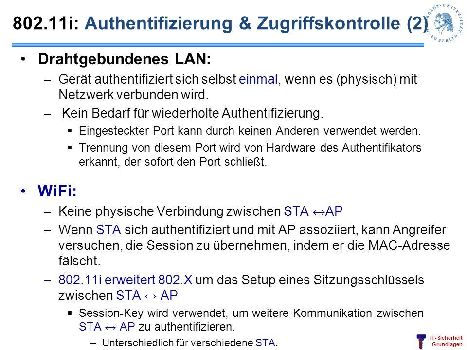 802.11i: Authentifizierung & Zugriffskontrolle (2)