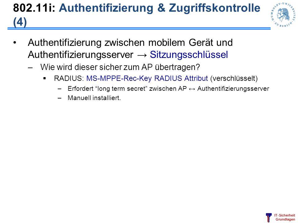 802.11i: Authentifizierung & Zugriffskontrolle (4)