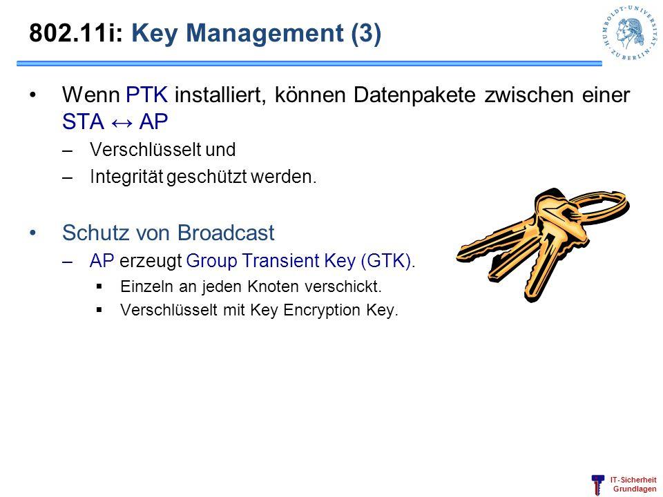 802.11i: Key Management (3) Wenn PTK installiert, können Datenpakete zwischen einer STA ↔ AP. Verschlüsselt und.