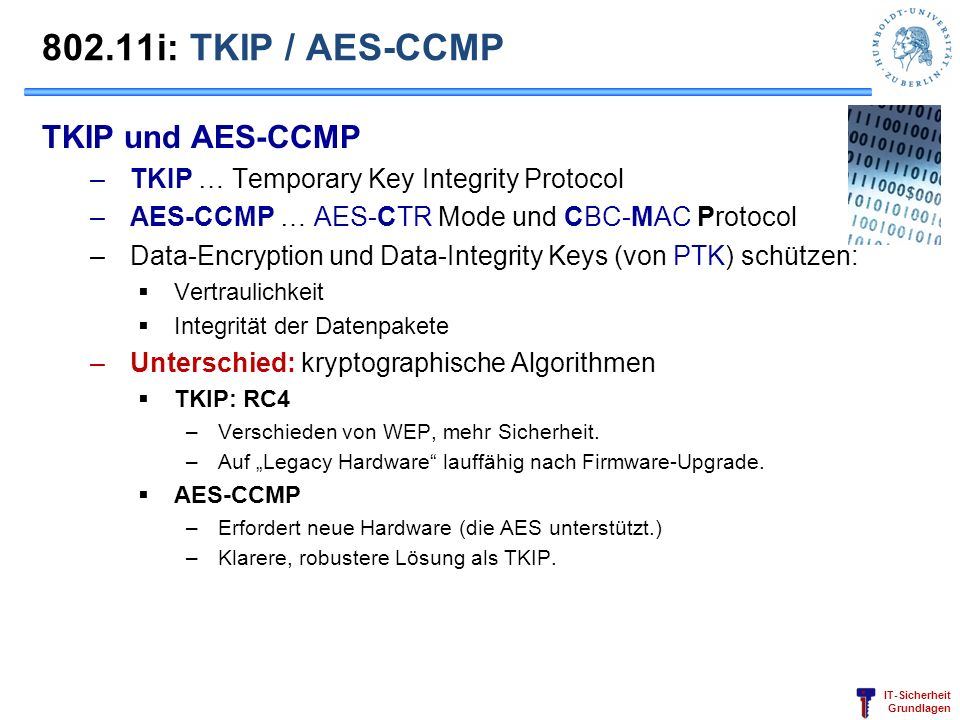 802.11i: TKIP / AES-CCMP TKIP und AES-CCMP