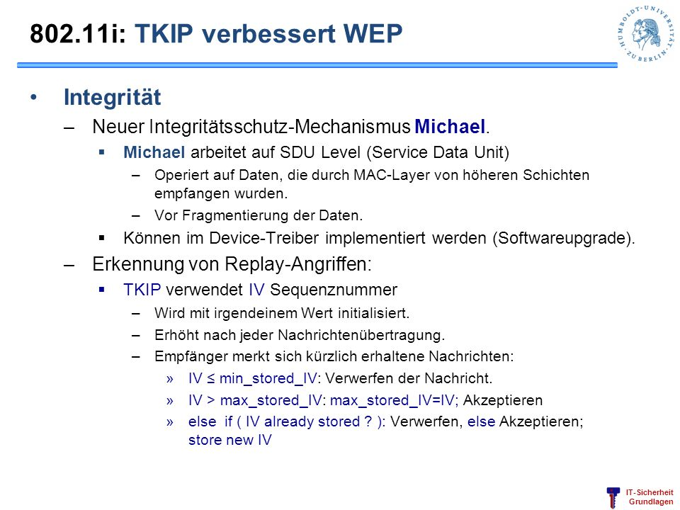 802.11i: TKIP verbessert WEP Integrität