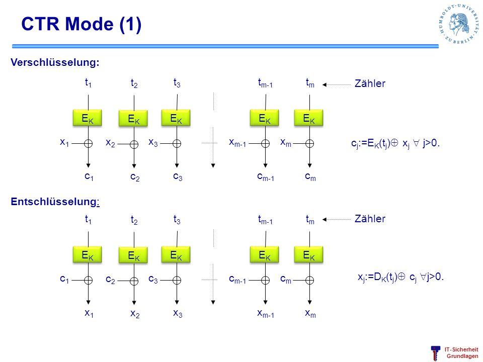 CTR Mode (1) Verschlüsselung: EK t1 c1 x1 t2 c2 x2 t3 c3 x3 tm-1 cm-1