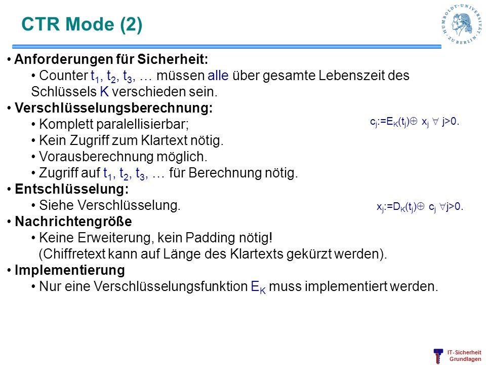 CTR Mode (2) Anforderungen für Sicherheit:
