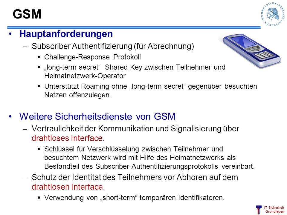 GSM Hauptanforderungen Weitere Sicherheitsdienste von GSM