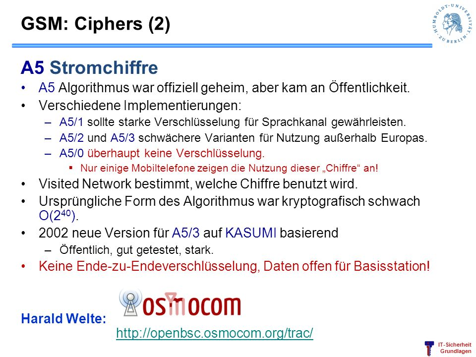 GSM: Ciphers (2) A5 Stromchiffre