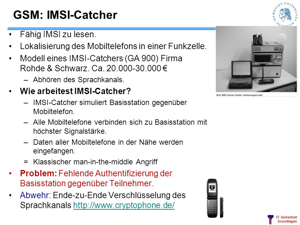 GSM: IMSI-Catcher Fähig IMSI zu lesen.
