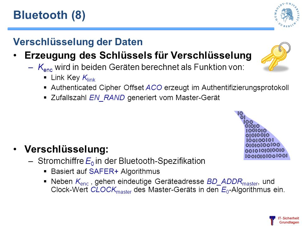 Bluetooth (8) Verschlüsselung der Daten