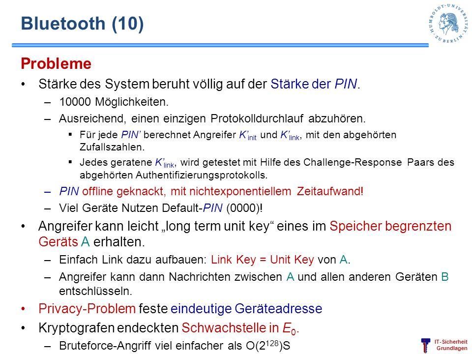 Bluetooth (10)Probleme. Stärke des System beruht völlig auf der Stärke der PIN. 10000 Möglichkeiten.