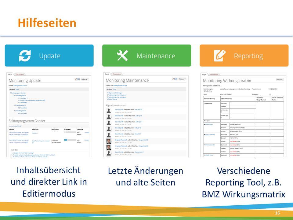 Hilfeseiten Inhaltsübersicht und direkter Link in Editiermodus