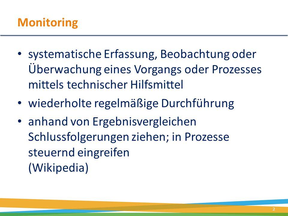 Monitoring systematische Erfassung, Beobachtung oder Überwachung eines Vorgangs oder Prozesses mittels technischer Hilfsmittel.