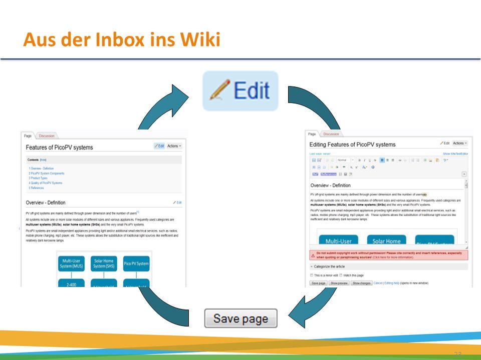 Aus der Inbox ins Wiki 23