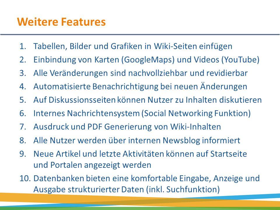 Weitere Features Tabellen, Bilder und Grafiken in Wiki-Seiten einfügen