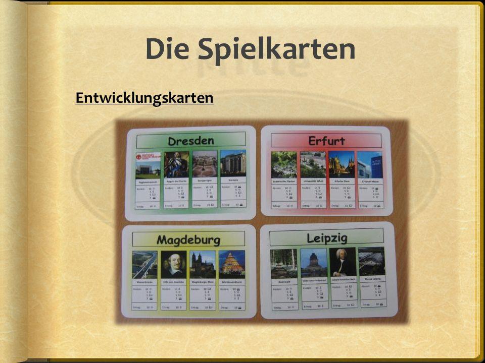 Die Spielkarten Entwicklungskarten