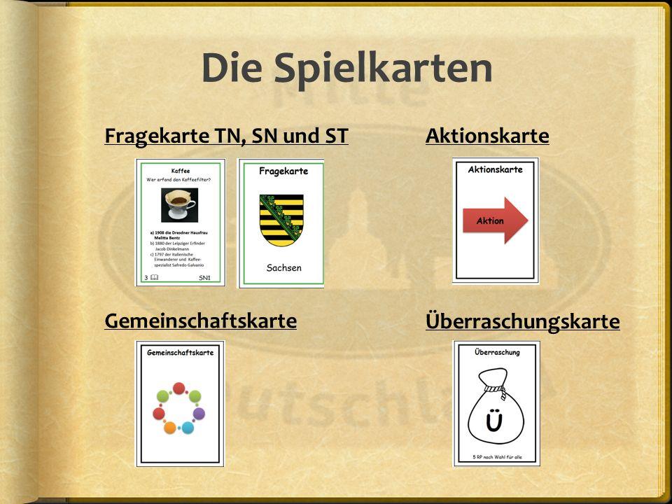 Die Spielkarten Fragekarte TN, SN und ST Aktionskarte