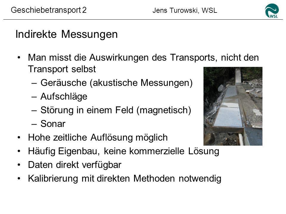 Indirekte Messungen Man misst die Auswirkungen des Transports, nicht den Transport selbst. Geräusche (akustische Messungen)