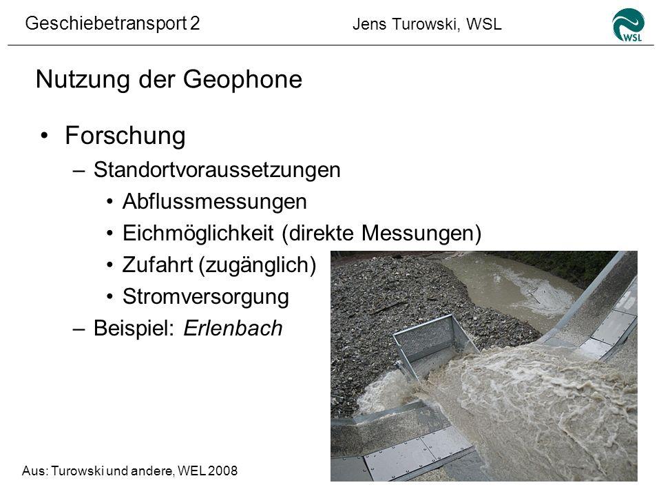 Nutzung der Geophone Forschung Standortvoraussetzungen