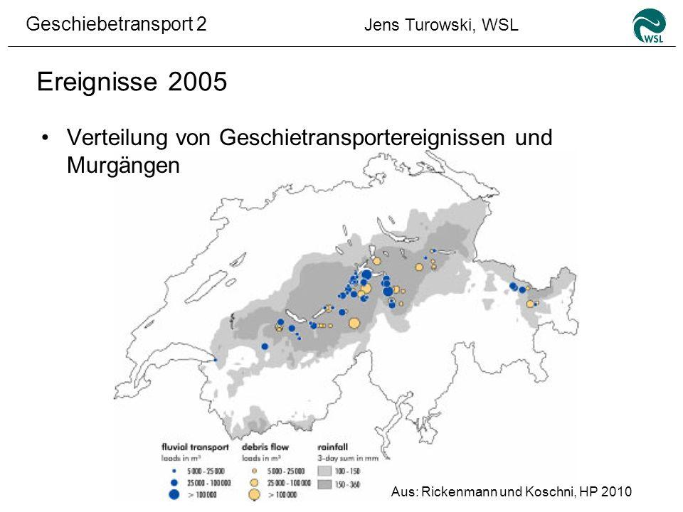 Ereignisse 2005 Verteilung von Geschietransportereignissen und Murgängen.