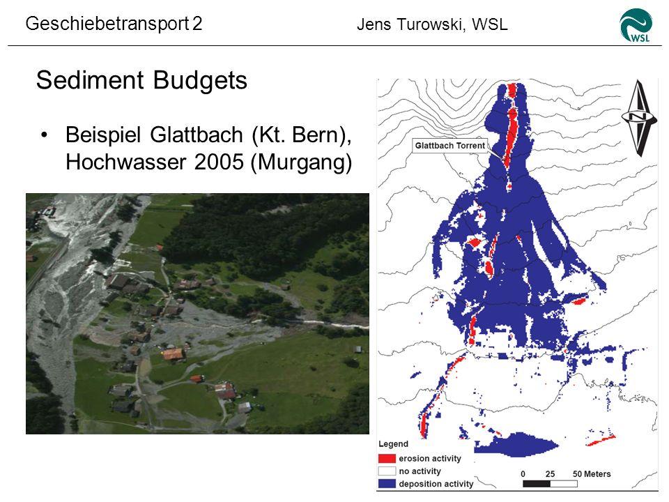 Sediment Budgets Beispiel Glattbach (Kt. Bern), Hochwasser 2005 (Murgang)