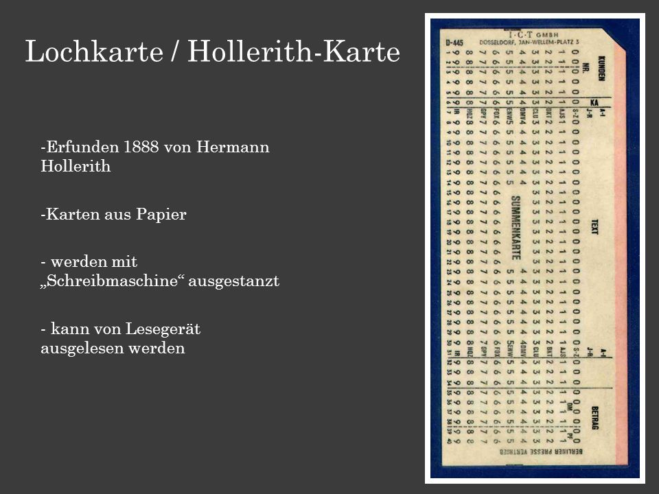 Lochkarte / Hollerith-Karte