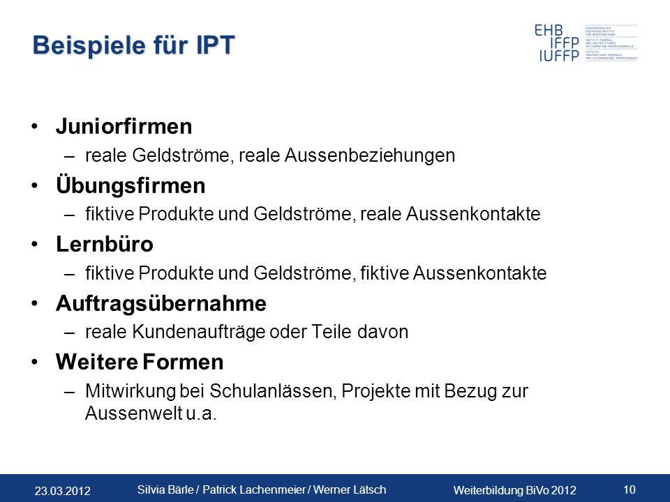 Beispiele für IPT Juniorfirmen Übungsfirmen Lernbüro Auftragsübernahme