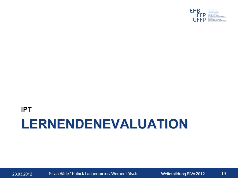 IPT Lernendenevaluation WLA